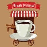 Un caffè stilizzato della via della tazza di caffè sulle ruote Fotografia Stock Libera da Diritti
