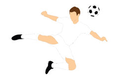 Un calciatore che spara una sfera con la sua testa fotografia stock libera da diritti