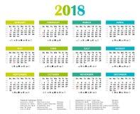 Un calendario annuale di 2018 colori freschi illustrazione di stock