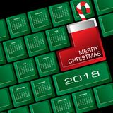 Un calendario creativo di 2018 Natali della tastiera Fotografia Stock