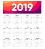 Un calendario creativo di 2019 progettazioni su fondo moderno Oriantation del ritratto Modello di progettazione di vettore con l' illustrazione vettoriale
