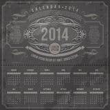Un calendario d'annata decorato di 2014 Fotografia Stock Libera da Diritti