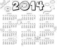 un calendario da 2014 anni Illustrazione Vettoriale