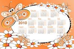 Un calendario dei 2010 bambini con la farfalla Immagini Stock Libere da Diritti