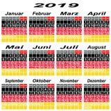 Un calendario della Germania di 2019 Immagini Stock