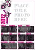 un calendario di 2012 inglesi con il blocco per grafici della foto Fotografia Stock