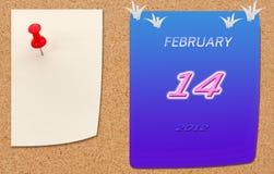 Un calendario di febbraio di 2012 anni sul cartone di fibra Fotografia Stock