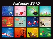 Un calendario di festa di 2015 Fotografia Stock Libera da Diritti
