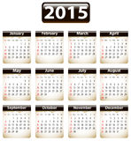 Un calendario di 2015 inglesi Fotografie Stock Libere da Diritti