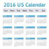 Un calendario di 2016 inglesi americani degli Stati Uniti Inizio di settimana la domenica Fotografia Stock