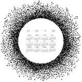 Un calendario 2019 di musica con un cerchio delle note musicali Fotografia Stock Libera da Diritti