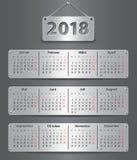 Un calendario di 2018 tedeschi Immagine Stock