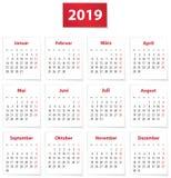 Un calendario di 2019 tedeschi sui Libri rossi e Bianchi illustrazione di stock