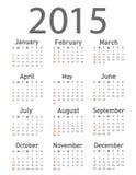 Un calendario semplice da 2015 anni Fotografia Stock