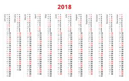 Un calendario semplice da 2018 anni, settimana comincia a partire da lunedì Fotografie Stock