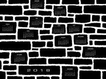 Un calendrier 2018 fait à partir d'un mur en pierre Images stock