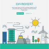 Un calibre de web design de page avec la ligne mince icônes de l'ecol de planète Photographie stock libre de droits