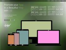 Un calibre moderne clair de site Web de page pour un étalage d'APP Photographie stock