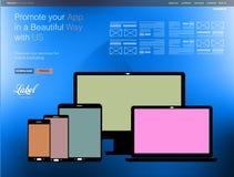 Un calibre moderne clair de site Web de page pour un étalage d'APP Photos stock