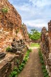 Un callejón en Wat Mahathat, un templo arruinado en Ayuthaya, Thaila Imagen de archivo