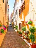 Un callejón estrecho adornado con las flores hermosas en Alghero Cerdeña, Italia Fotografía de archivo