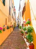 Un callejón estrecho adornado con las flores hermosas en Alghero Cerdeña, Italia Fotos de archivo