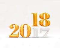 un cambiamento da 2017 anni ad un numero dorato di 2018 nuovi anni & a x28; 3d rendering& x29; o Fotografie Stock