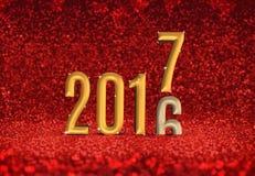 un cambiamento da 2016 anni 2017 alla rappresentazione di anno 3d nel abst rosso di scintillio Fotografie Stock Libere da Diritti