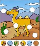 Un camello en un desierto Termine el rompecabezas y encuentre el PA que falta ilustración del vector