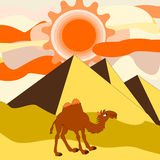 Un camello que pasa a través del desierto cerca de las pirámides Imagen de archivo