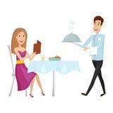 Un cameriere con un piatto caldo nel ristorante Illustrazione di vettore su un fondo bianco Stile del fumetto e del piano Fotografie Stock