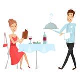 Un cameriere con un piatto caldo nel ristorante Illustrazione di vettore su un fondo bianco Stile del fumetto e del piano illustrazione di stock