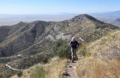 Un caminante en el rastro de la cresta de montaña de Huachuca Imágenes de archivo libres de regalías