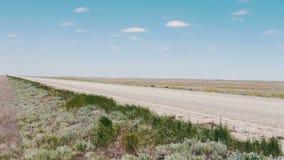Un camino abandonado en la estepa a lo largo de la cual los coches conducen en la República de Kalmukia, Rusia almacen de video