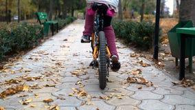 Un camino caucásico de la bici de los paseos de los niños en parque del otoño almacen de video
