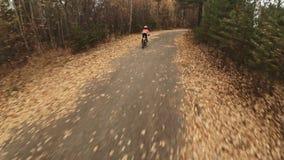 Un camino caucásico de la bici de los paseos de los niños en parque del otoño El ciclo anaranjado negro del montar a caballo de l metrajes