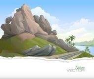 Un camino entre una colina rocosa y un lago con las palmeras por ambas partes Imagen de archivo