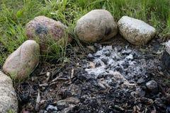 Un camino infornato dal lago Pezzi bruciati di legno e di cenere dentro immagine stock