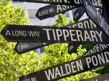 Un camino largo a la placa de calle de la dirección de Tipperary Imagen de archivo