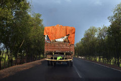 Un camion chargé dans la route, Inde Image stock