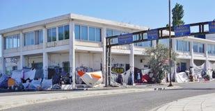Un camp de réfugié migrateur à Athènes, Grèce Image libre de droits
