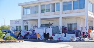 Un camp de réfugié migrateur à Athènes, Grèce Photo stock