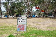 Un camp de réfugié sur l'île de Heirisson à Perth Images libres de droits