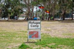 Un camp de réfugié sur l'île de Heirisson à Perth Image libre de droits