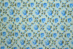 Un campione del tessuto: rosa del blu e gabbia floreale Fotografia Stock Libera da Diritti