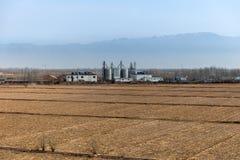 Un campo agricolo con installazione produttiva Immagini Stock