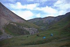 Un campo de los cazadores y de los caballos que pastan en montañas Fotos de archivo libres de regalías