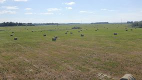 Un campo extenso con los rollos del heno, visión superior metrajes