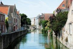 Un canale di Bruges Fotografia Stock