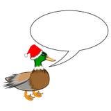 Un canard drôle de Noël avec une bulle de la parole Photo stock
